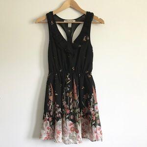 Black Floral Mini Dress - Racerback - Small